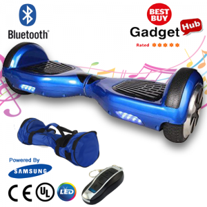 A classic blue bluetooth hoverboard