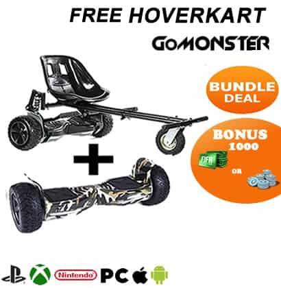 8.5 Hummer Segway Hoverboard with Monsterkart Bundle plus Fortnite or FIFA points